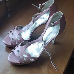 Blush t-strap stiletto heels